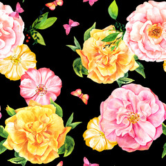 Seamless pattern with watercolor roses and butterflies on black