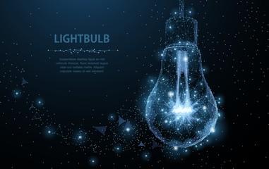 Lightbulb. Polygonal mesh art looks like constellation. Concept illustration or background Wall mural