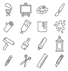 Artist or Painter Icons Thin Line Vector Illustration Set