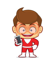 Clipart picture of a superhero cartoon character holding smartphone