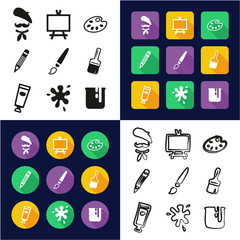 Artist All in One Icons Black & White Color Flat Design Freehand Set