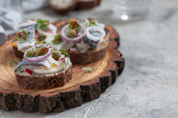 Open sandwich smorrebrod with herring, onion and eggs