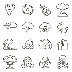 Armageddon or Disaster Icons Thin Line Vector Illustration Set