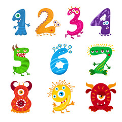Funny cartoon numbers monster set. Collection isolated fantasy numerals for kids learning counting or mathematics. Cartoon monsters for children