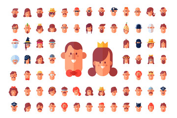Cool flat vector avatars. Male and Female characters. Cartoon style.