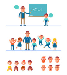Smart teacher in glasses near a blackboard with a schoolboy. Pupils have fun with their teacher. Teacher and children constructor with different faces. Cartoon style,  flat vector illustration.