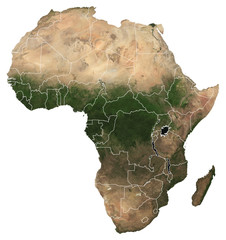 Large (97 MP) isolated satellite image of Africa with country borders. African continent from space. Detailed map of Africa in orthographic projection. Elements of this image furnished by NASA.