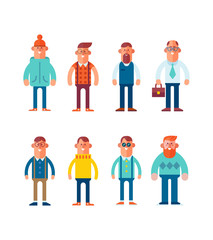 Big set of characters in flat style. Man and guy in different clothes. Cartoon style, vector illustration.t