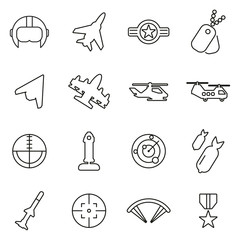 Air Force or Military or Army Icons Thin Line Vector Illustration Set
