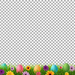 Happy Easter Postcard With Flowers And Grass Transparent background