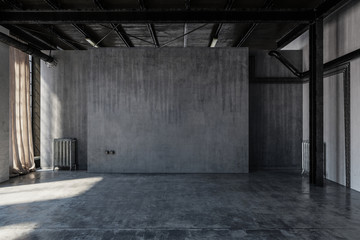 Empty concrete warehouse room with windows Wall mural