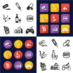 Addiction All in One Icons Black & White Color Flat Design Freehand Set