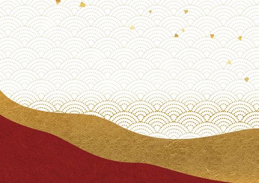 和風背景 赤と金 青海波 金箔散らし
