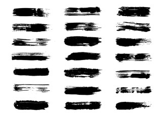 Vector brush paint, ink black stroke, paintbrush, line, grunge texture. Dirty artistic design box set, elements, splashes, shapes or background for text. Hand drawn banner and frame collection.