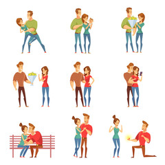 Happy loving couples together. Love and romance. Valentine's Day. Young people together, friendship and relationship. Vector illustration in a flat style.