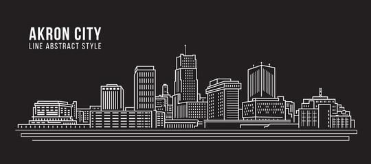 Cityscape Building Line art Vector Illustration design - Akron city