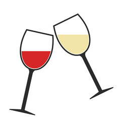 Red and White Wine Glasses Clink Icon Isolated, Cheers