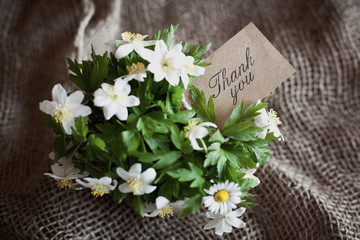 "bouquet of spring anemones with a ""thank you"" card"