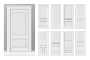 Vector white painted interior wooden doors set in flat style. Realistic proportions, 1:100 scale.