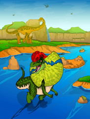 Dilophosaurus on the river background