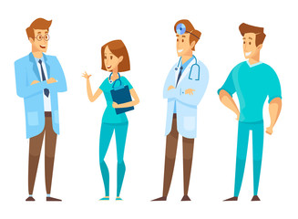 Male and female Doctors  talking to each other. Discussion, exchange of ideas. Team of medical workers on a white background. Hospital. Vector flat cartoon illustration.