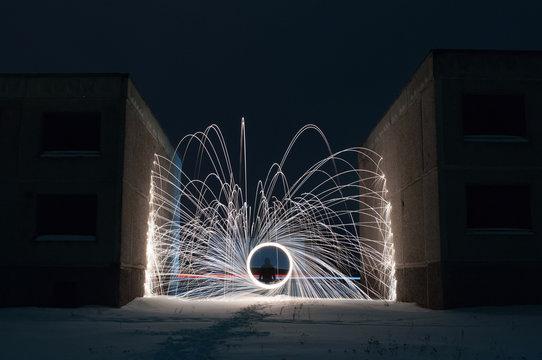 Burning Steel Wool in the winter night,