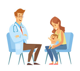 Mother with a little child visiting a doctor. Pediatrician. The doctor with statoscope, kid sits in on her mother's lap. Vector illustration in a flat style.