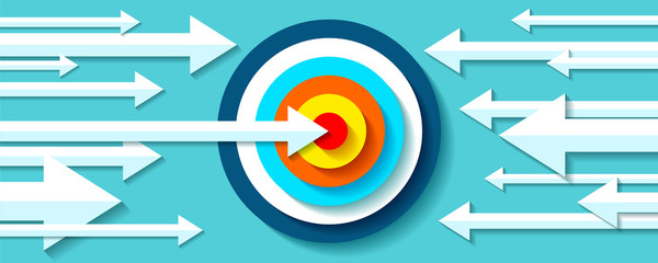 Volume Target icon in flat style on color background. White Arrows in the center aim. Vector design element for you business projects