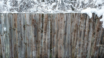 Fence of wood in city in winter. Planks covered with snow. Against the backdrop of bushes and trees strewn with snow. Beautiful texture of wooden boards, outdoors in frost.