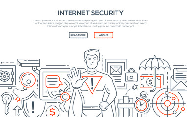 Internet security - modern line design style illustration