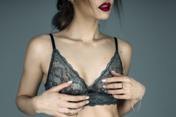 girl in sexual lace bra and red lips