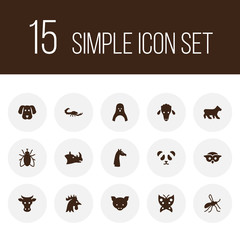 Set of 15 zoo icons set. Collection of cock, fly, panda elements.