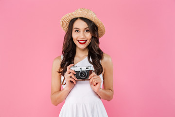 Portrait of a cheerful young asian woman