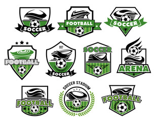 Vector football isolated icons of soccer balls