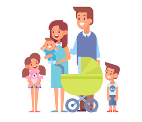Vector set of characters in a flat style. Happy parents with children. Cartoon  vector illustration.