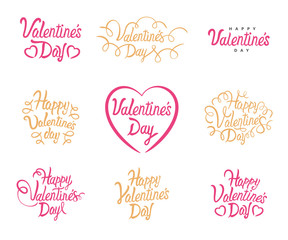 Valentine Day vector text lettering. Vector Happy Valentines Set Of Calligraphic Quotes. Lettering on white background for 14 February Valentine holiday. Calligraphy text template.