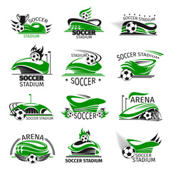 Vector football isolated icons of soccer arena