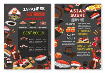 Vector Japanese Asian sushi food restaurant menu
