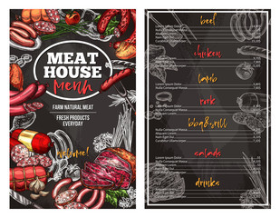 Vector sketch menu for meat house delicatessen