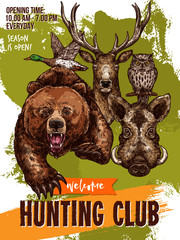 Vector sketch poster of hunting club wild animals