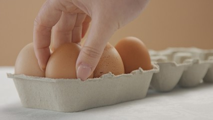 woman's hand put a brown egg to the box closeup