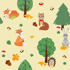 Seamless background with forest animals in the forest. Vector illustration.