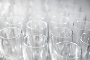 Empty flute glasses