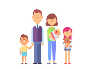 Happy family together -  mom, dad, kids. Vector set of characters in a flat style good for animation. Cartoon style.