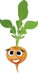 Funny turnip with haulm and face on white background