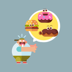 Cute hungry fat boy with fast food. Cartoon style character, flat vector illustration.