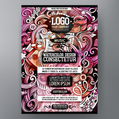 Cartoon watercolor hand drawn doodles Music poster design template