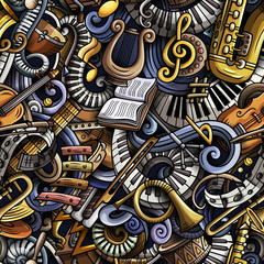 Cartoon cute doodles Classical music seamless pattern