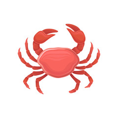 Cartoon icon with red crab. Healthy eating. Marine product. Design for restaurant menu, logo, promo poster, flyer or product packaging. Flat vector icon