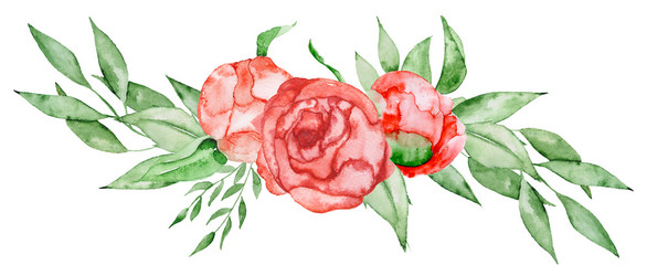 Wall Mural - Peonies bouquet Hand painted watercolor combination of Flowers and Leaves